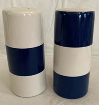 "NAUTICA Ceramic Blue White Wide Stripe SALT & PEPPER SHAKERS 4"" Unused N... - $11.87"