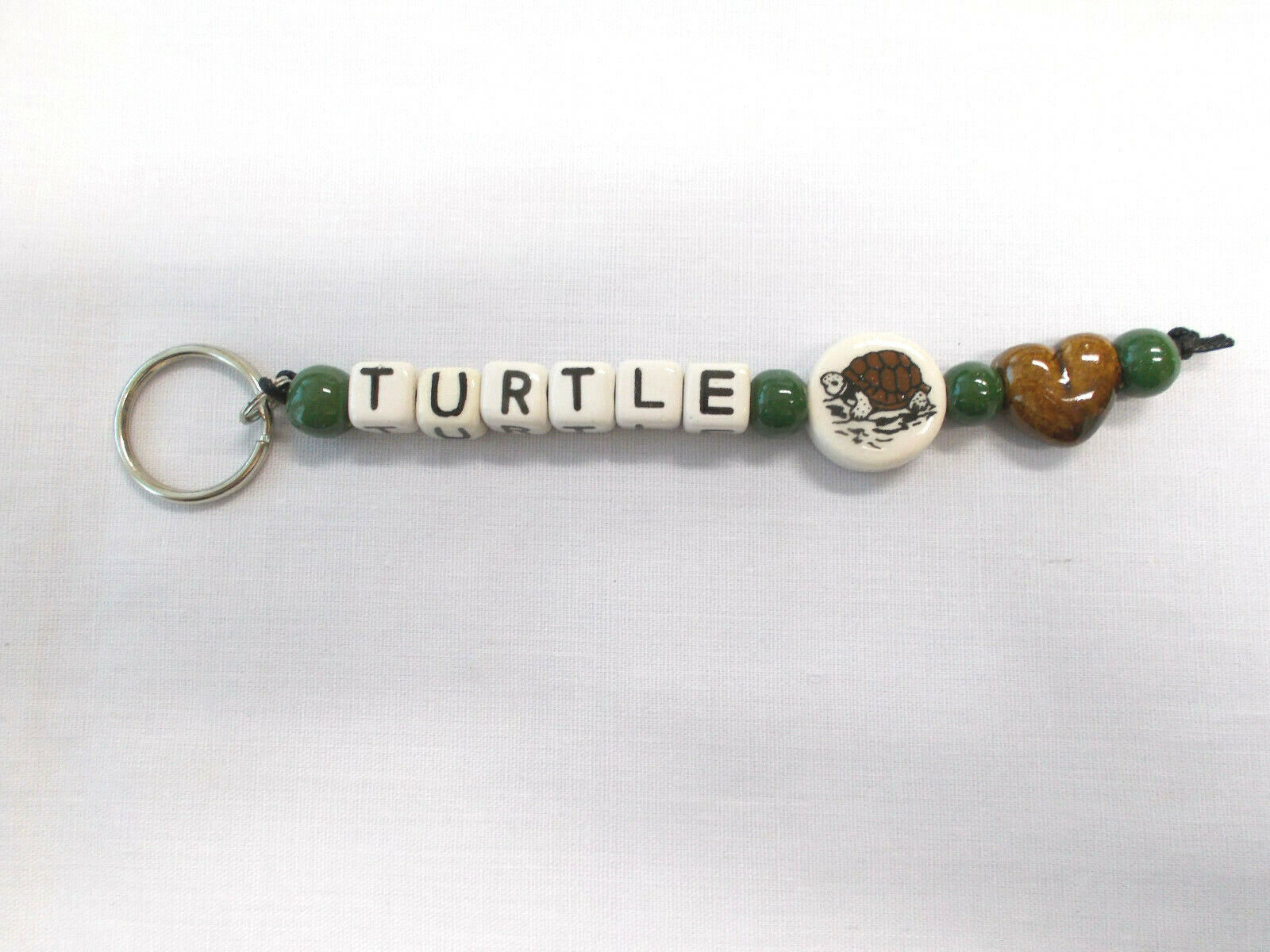 Primary image for Cermaic Box Turtle with Brown Heart and Green Round Beads Key Chain Key Ring