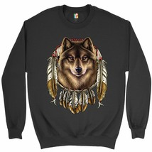 Wolf Spirit Sweatshirt Native American Dreamcatcher Indigenous Crewneck - $19.32+