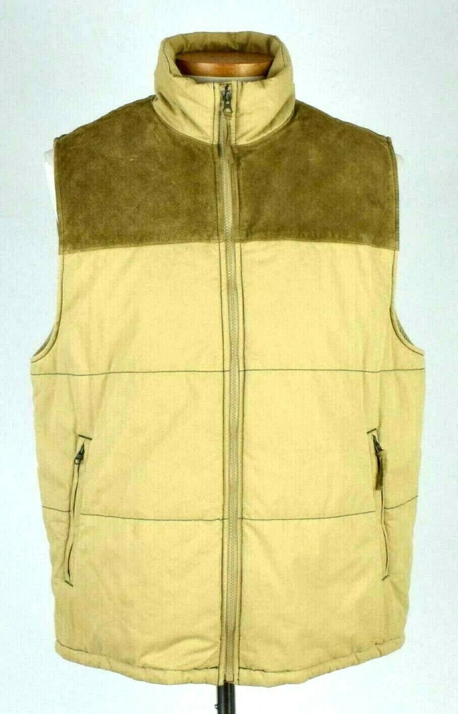 Primary image for GAP Khaki Tan Cotton & Suede Leather Puffer Vest Sleeveless Jacket Mens Size L
