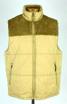GAP Khaki Tan Cotton & Suede Leather Puffer Vest Sleeveless Jacket Mens ... - $38.60