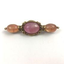 1928 Jewelry Bar Brooch Pin Gold Tone Orange Pink Plastic Cabochon Vintage  - $14.80