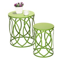 Joveco Metal Round Iron Nesting Strip Structure Stool End Table Side Tab... - $127.76