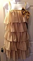 New Girl's ERIN FETHERSTONE Target Gold Tiered Ruffle Flapper Dress Sz 7... - $36.53