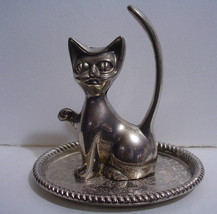 Vintage Silver plated Cat Ring Holder - $5.89
