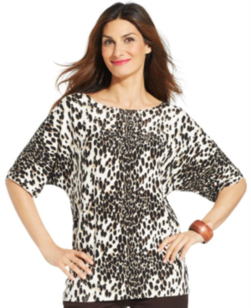 Jm Collection Dolman-Sleeve Animal-Print Top size small