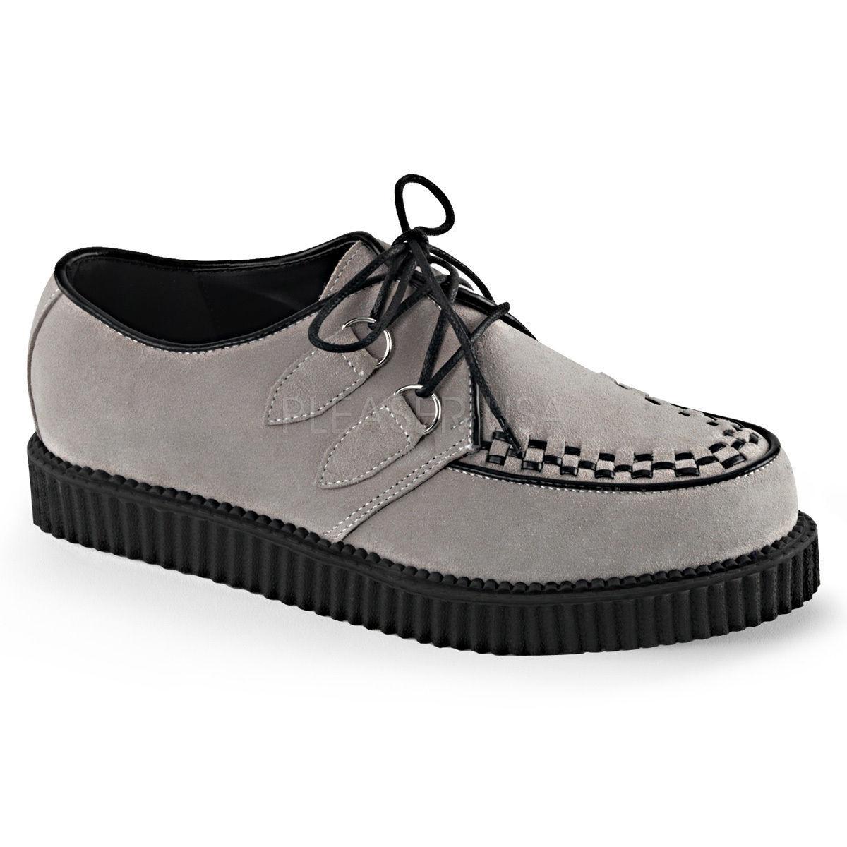 DEMONIA Mens Gothic Punk Platform Pointed Toe Creeper Black Oxford Leather Shoes