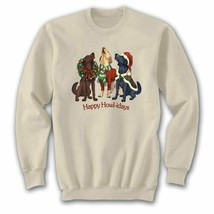 Dog Christmas Sweatshirt S M L XL XXL Happy Howl-idays Unisex New NWT - $25.25