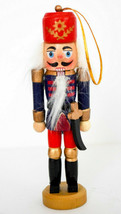 Wooden Hand Made 5 Inch Nutcracker Ornament - Red Hat  Bent Knife  Blue ... - $12.86