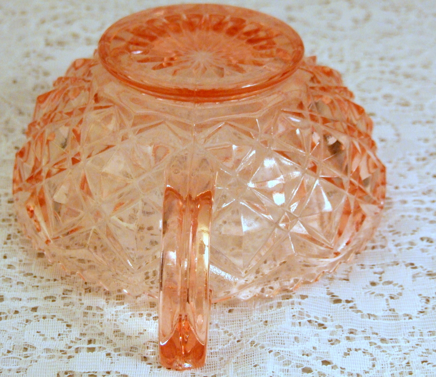 Imperial Depression Glass Diamond Block Little Jewel Pink Nappy or Jelly Bowl