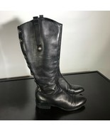 Sam Edelman Phallon Women's Sz 7 M, Black Leather Snap Accents Tall Ridi... - $29.70