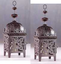 Two (2) all metal floral cutout brown moroccan patio table candleholder ... - $19.00