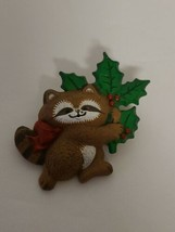 "Vintage 1986 Hallmark Christmas RACCOON Holiday Pin. 1.5"" x 1.5""  - $24.95"