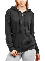 Women's Cotton Blend Lightweight Athletic Activewear Black Zip Up Hoodie Jacket image 3