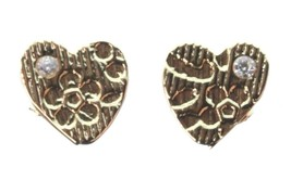 Kevia 18K Gold Plated Cubic Zirconia Crystal Heart Brocade Post Stud Earrings image 2
