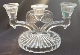 Vintage Clear Jeannette Glass Cosmos Pattern Triple Candelabra Candle Ho... - $17.00