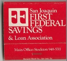 Vtg Strike on Matchbook  ~ San Joaquin First Federal Savings & Loan Asso... - $9.89