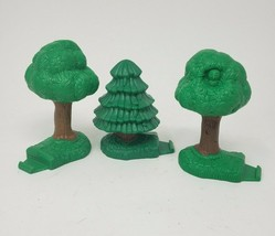 LOT OF 3 FISHER PRICE GEO TRAX GREEN TREES EVERGREEN REPLACEMENT PART PIECE - $8.60