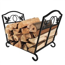 Fireplace Log Holder Wrought Iron Indoor Fire Wood Stove Stacking Rack L... - $39.59
