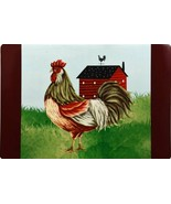 Set of 2 Kitchen Vinyl NON CLEAR Placemats, ROOSTER & THE FARM HOUSE, GR - $11.87