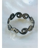 Estate Nonmagnetic Silver Ocean Waves Band Ring Size 7.5 – just under 0.... - $12.19