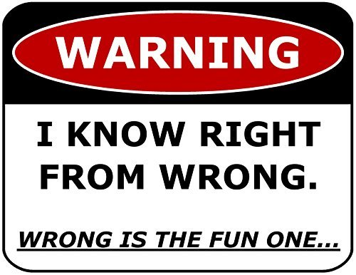 Primary image for Top Shelf Novelties Warning I Know Right from Wrong. Wrong is The Fun One.Lamina