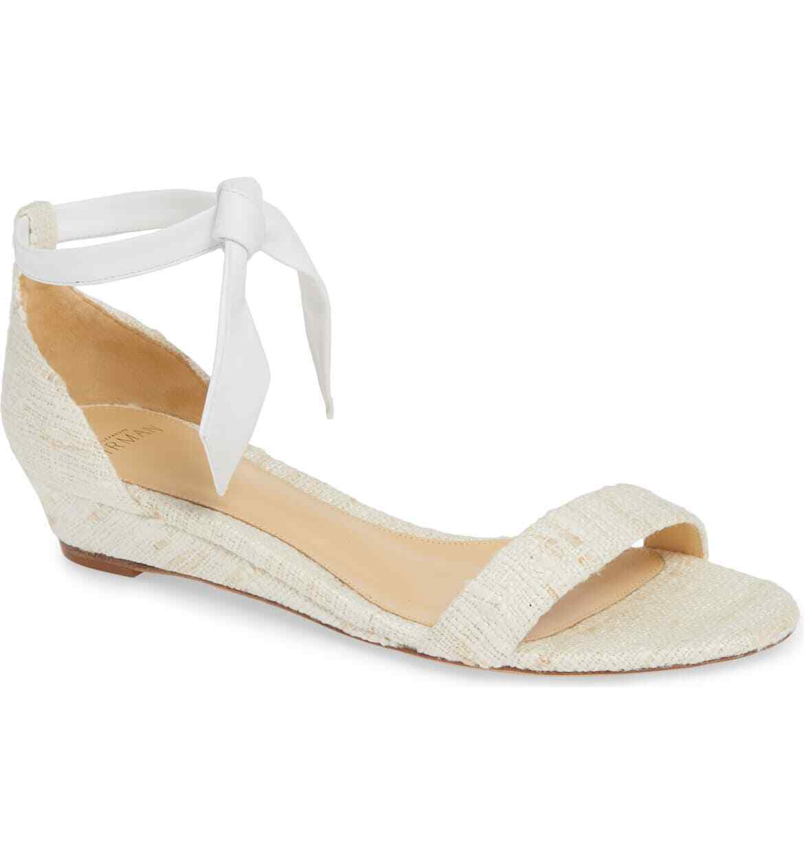Primary image for ALEXANDRE BIRMAN WHITE Clarita Wedge Sandal Size 36.5