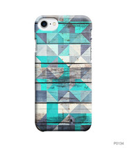 Blue Triangle Wood Texture Phone Case 3D Case for iPhone Samsung & Other Case - $7.00