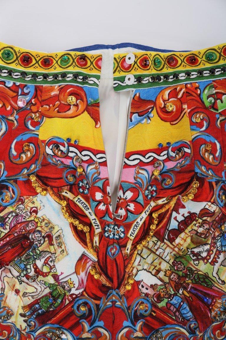 Dolce & Gabbana Red Carretto Print Brocade Crystal Skirt