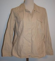 New Coldwater Creek Ultralight Crinkle Jacket Button Front Cotton Tan Sz 18 - $31.78