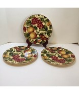 "3 Salad Plates Waverly Floral Manor Pears Grapes Cherry 8.5"" - $19.34"
