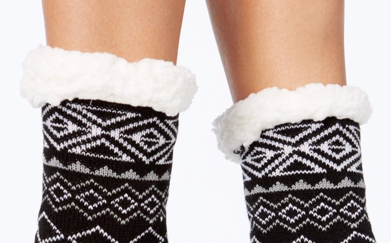 Charter Club Holiday Fleece Gripper Slipper Socks Black Pattern