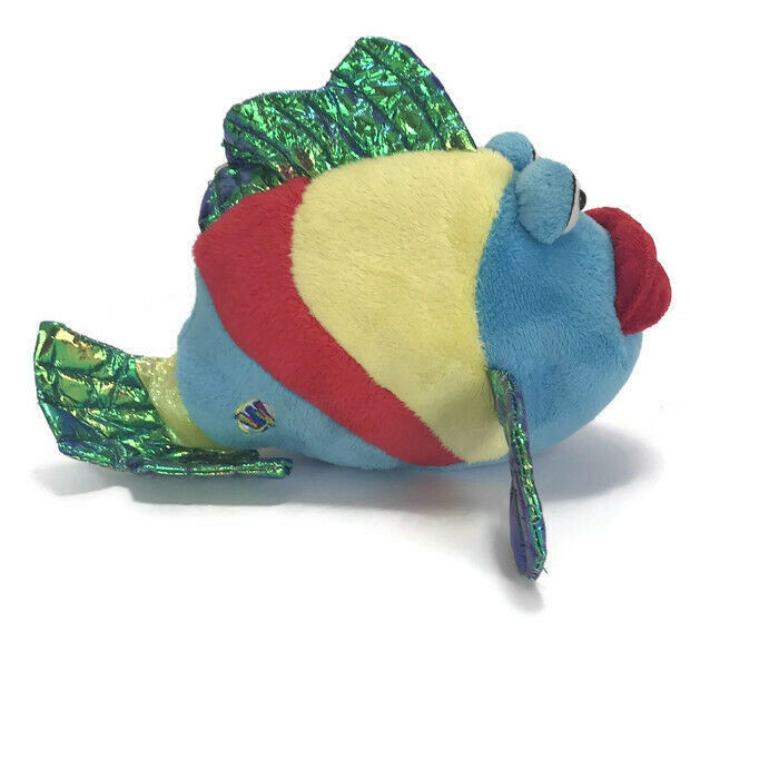 Webkinz Ganz Pucker Fish Plush Blue Red Metallic Stuffed Animal No Code image 4