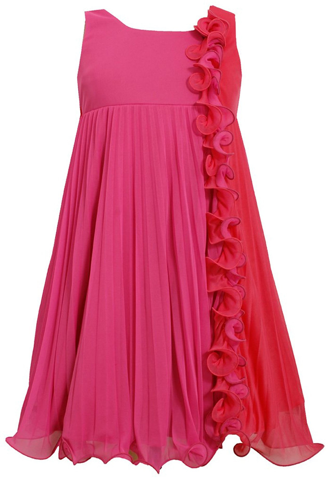 Little-Girls 2T-6X Fuchsia Pink Colorblock Wire Ruffle Pleated Chiffon Dress, 6
