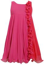Little-Girls 2T-6X Fuchsia Pink Colorblock Wire Ruffle Pleated Chiffon Dress, 6