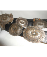 Sterling Navajo Concho Belt Silver Leather Native American Marcella James  - $451.25