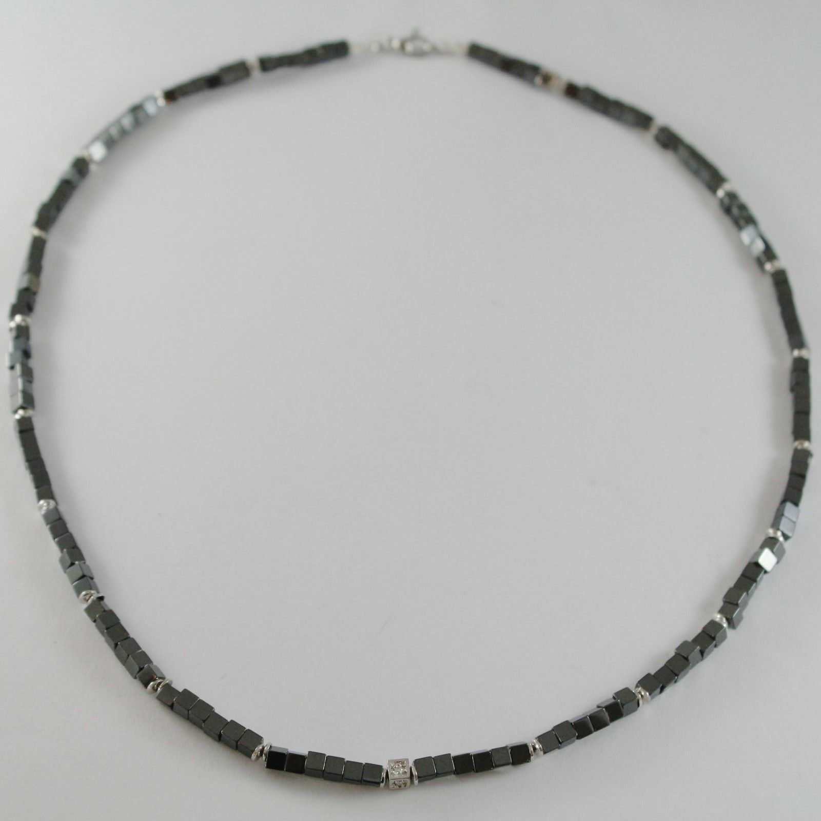 NECKLACE GIADAN 925 SILVER HEMATITE LUCID AND 8 DIAMONDS WHITE MADE IN ITALY image 1