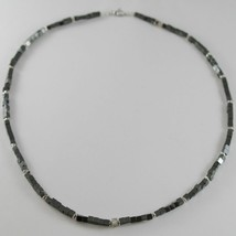 NECKLACE GIADAN 925 SILVER HEMATITE LUCID AND 8 DIAMONDS WHITE MADE IN I... - $261.57