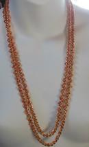 "Long Gold Tone Fashion Peachy Orange Colored Beaded Necklace 26"" - $19.80"