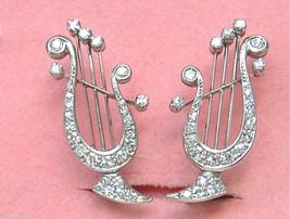 Vintage 1ctw Diamond Platinum Greek Lyre Harp Music Stud Huggie Earrings 1950 - $3,028.41