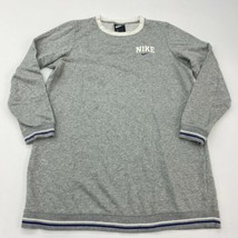 Nike Sweatshirt Men's M Long Sleeve Gray Striped Rib Band Crew Neck Cott... - $22.95
