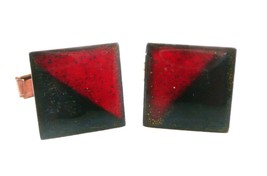 Vintage 1950s 60s Artisan Handmade Copper Enamel Red / Black Modernist C... - $75.00