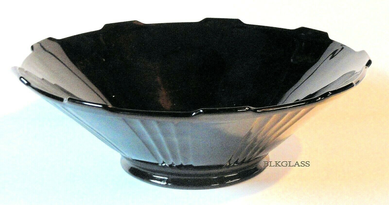 Imperial Black Glass Bowl Alternating Flute And Panel 8.5 inch Flared Tab Edges - $24.99