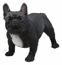 Ebros Adorable Large Lifelike Realistic Black French Bulldog Statue with Glass E - $119.99