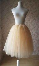 Women Apricot Tutu Skirt Apricot Ballet Tutu Skirt High Waist Midi Tulle Skirt