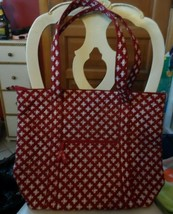 Vera Bradley Villager large zipper tote in mini concerto red and white - $54.00