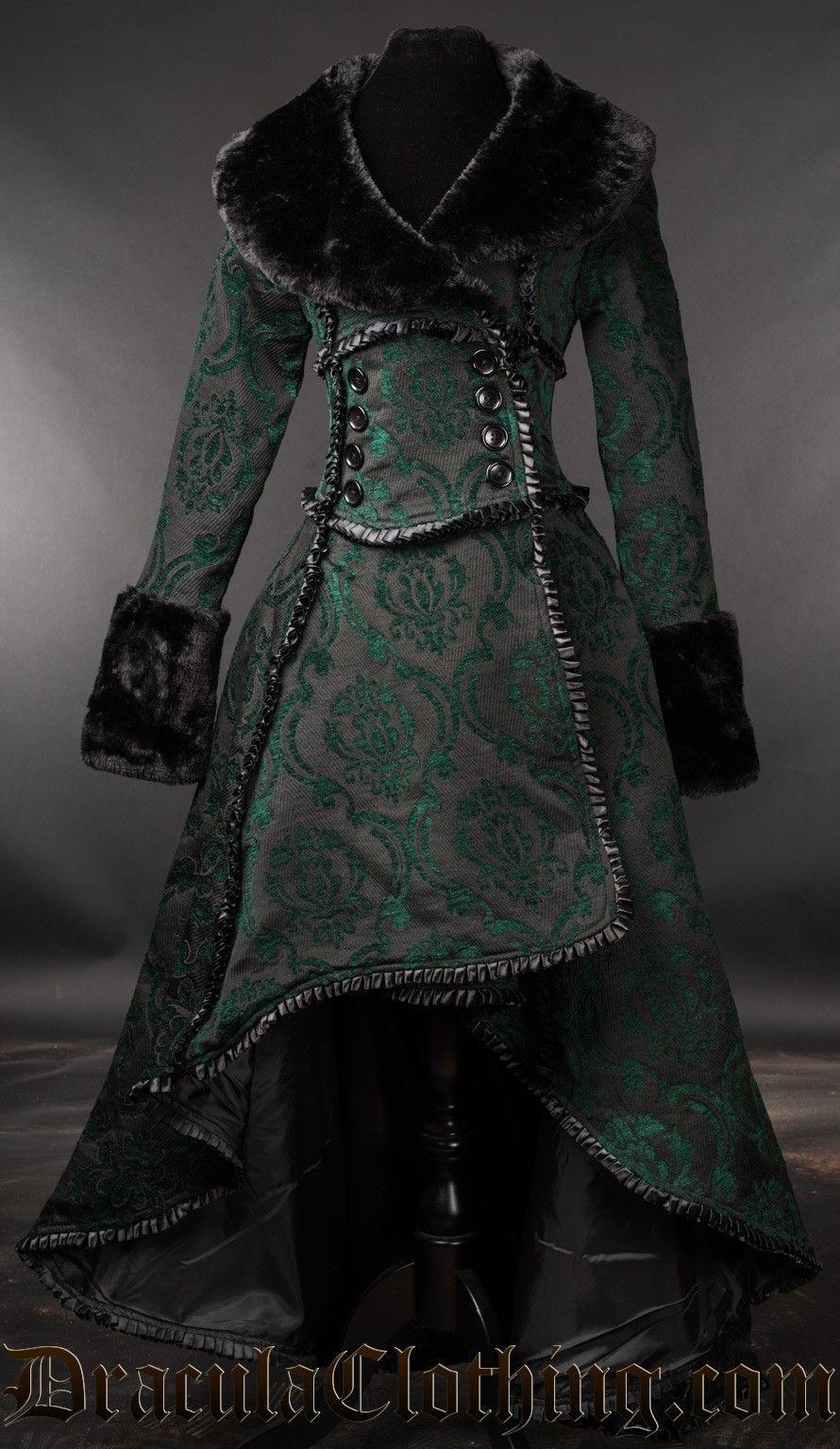 Green Evil Queen Brocade Goth Victorian Long Winter Corset-Back Steampunk Coat