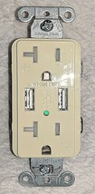 HUBBELL Tamper Resistant Duplex Receptacle With 2 USB Port Charger image 1
