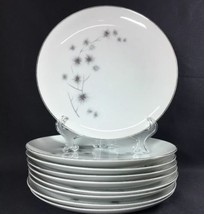 "Set of 9 Dinner Plates Creative Fine China Platinum Starburst #1040 9-1/4"" - $44.54"