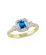 Women's Engagement Ring Cushion Cut Blue Topaz 14k Yellow Gold Plated 925 Silver - $78.99